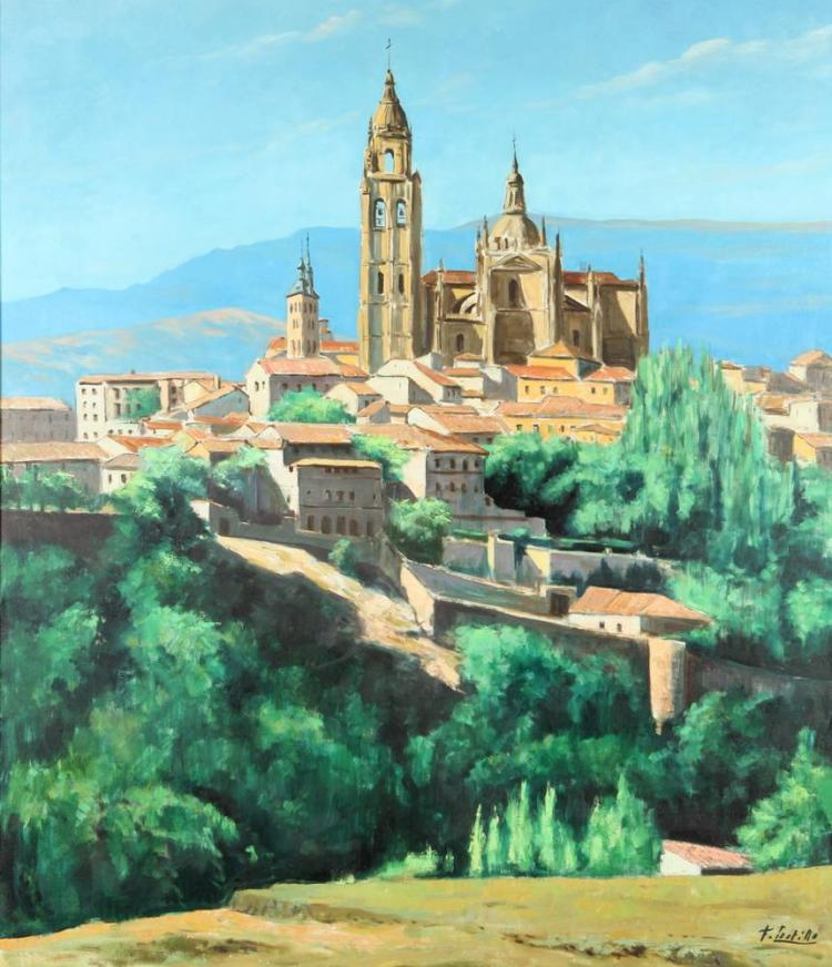 FRANCISCO CASTILLO (b. 1940). CITYSCAPE, signed lower right. Oil on canvas.