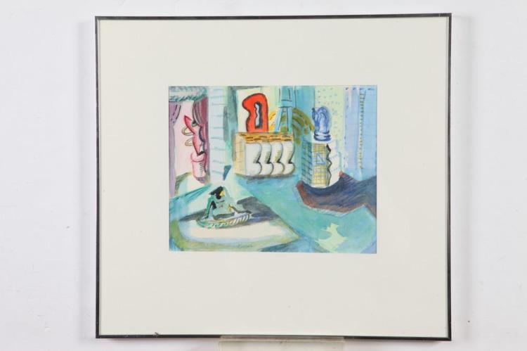 BARBARA BJANES. (American, 20th century). PARIS SERIES #2, signed lower left. Watercolor.