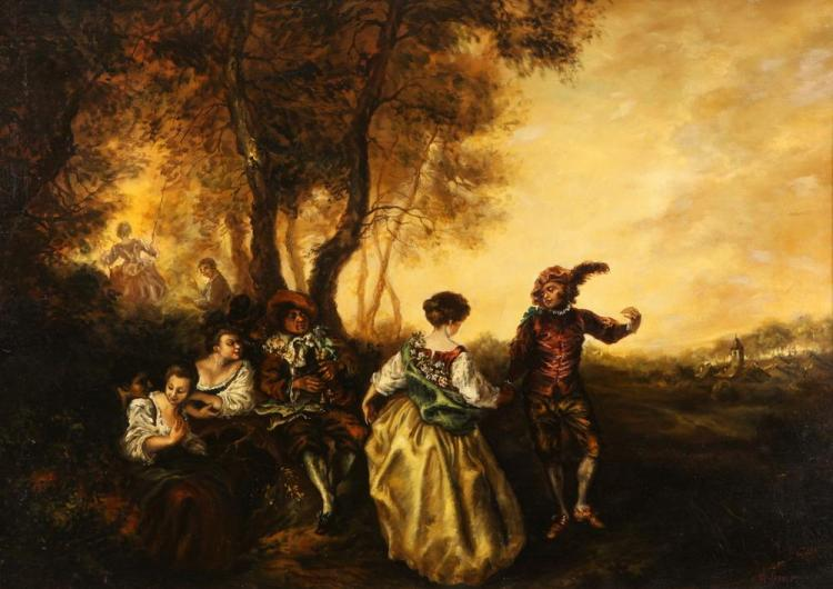 ALESSADRO-FRANCIS (20th century). THE COURTSHIP, signed lower right. Oil on canvas.