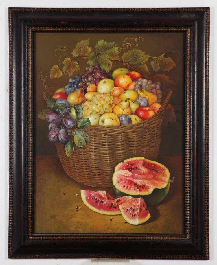 JOSE ESCOFET. (Spanish, b. 19330). FRUIT IN BASKET, signed lower left. Watercolor and gouache.