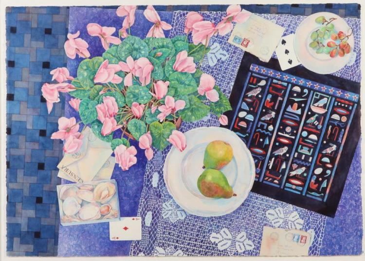 SUSAN ABBOTT (American, b. 1951). TABLE TOP STILL LIFE, signed lower right and upper right. Watercolor.