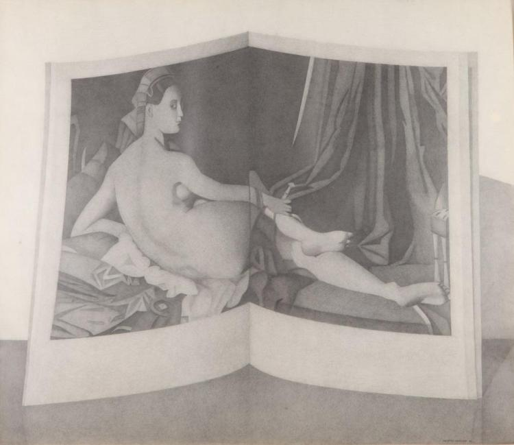 NAFTALI RAKUZIN (Russian, b. 1948). HOMAGE TO INGRES, signed and dated '83 lower right. Penicl.