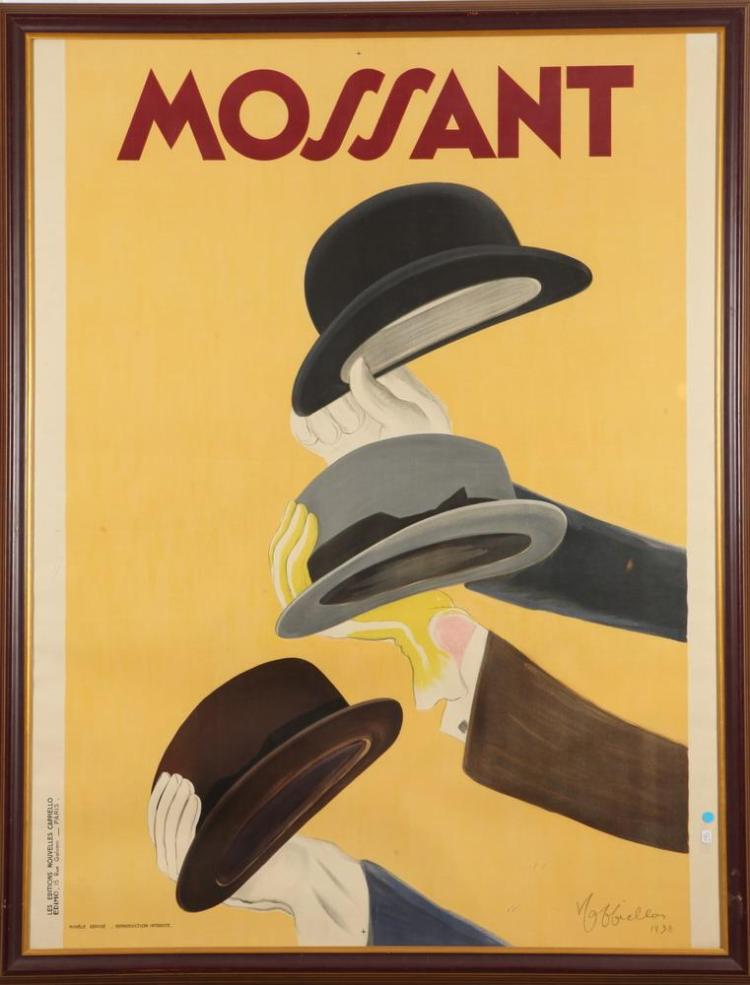 LARGE FRAMED FRENCH LEONETTO CAPPIELLO MOSSANT ADVERTISING POSTER. Leonetto Cappiello (French, 1875-1942). Circa 1938. Printed by Edimo