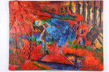 AMERICAN SCHOOL (20th century). ABSTRACT, mixed media on panel.