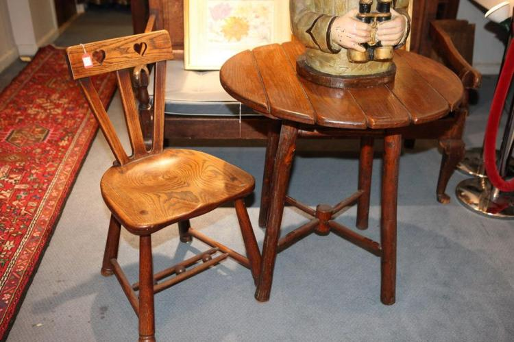 EARLY 20TH CENTURY TWIG TABLE WITH SLATTED TOP, WITH AN OAK CHAIR, Early 20th Century. Neither piece are marked.