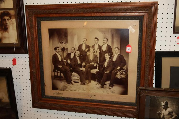 FRAMED GROUP PHOTOGRAPH OF BALTIMORE SUBJECTS, circa 1900.