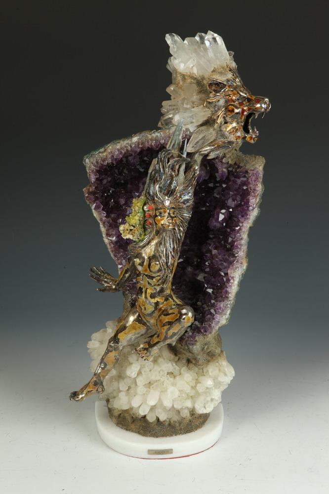 AURELIO TENO (Spanish, 1927-2013). LEO ZODIAC, signed. Amethyst, quartz and enameled silver sculpture.