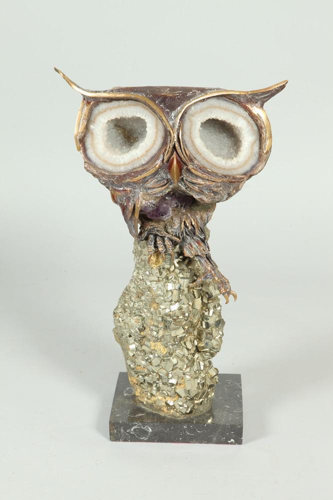 AURELIO TENO (Spanish, 1927-2013). OWL, signed. Aragonite, quartz, onyx, agate and enameled silver sculpture.