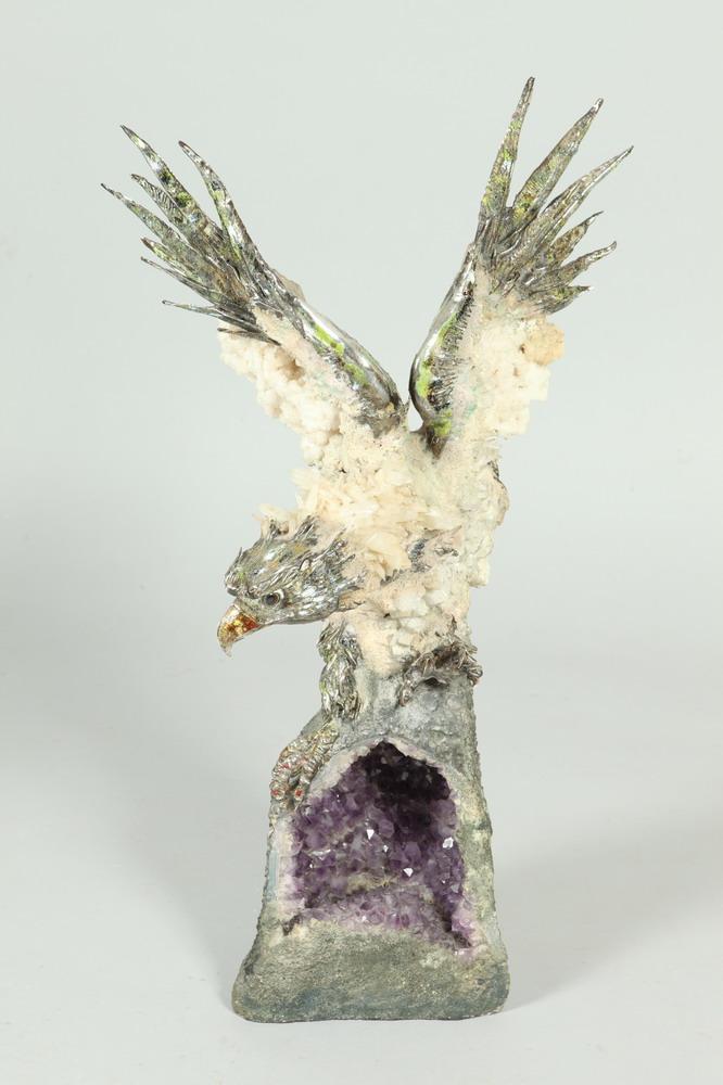 AURELIO TENO (Spanish, 1927-2013). EAGLE, signed. Amethyst, quartz and enameled silver sculpture.