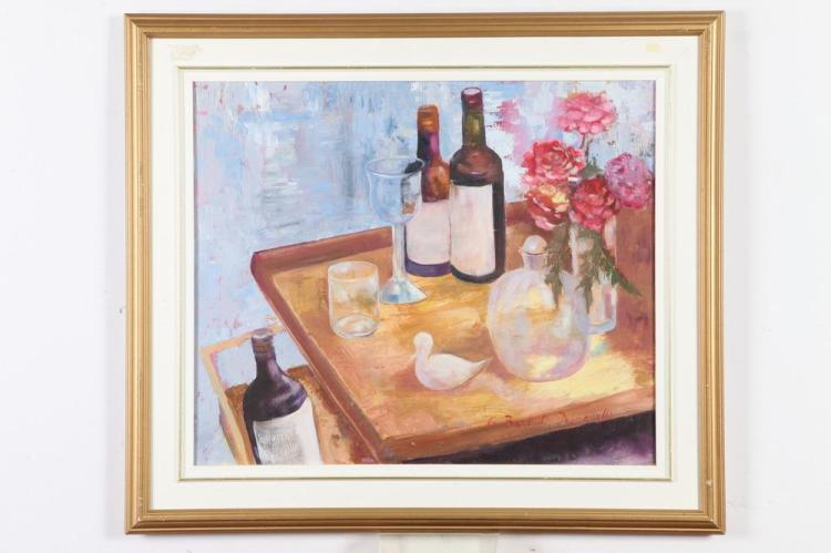 GLADYS BARBOT-DESMANGLES (Haitian, contemporary). TABLE-TOP STILL-LIFE WITH JUG OF WINE, signed lower right. Oil on canvas .