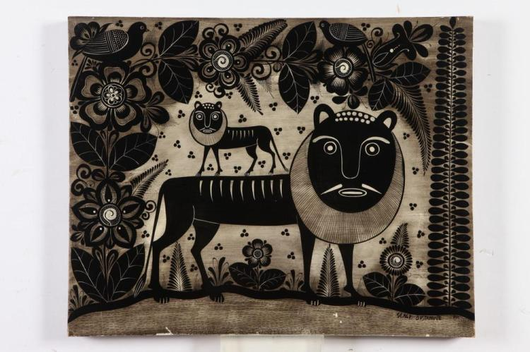 SERGIO BUSTAMANTE. (Mexican, b. 1949). LIONS IN STYLIZED JUNGLE, signed and located