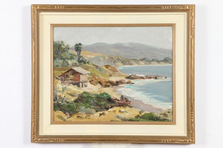 CARL SCHMIDT. (American, 1885-1969). COASTAL LANDSCAPE, signed lower right. Oil on board.