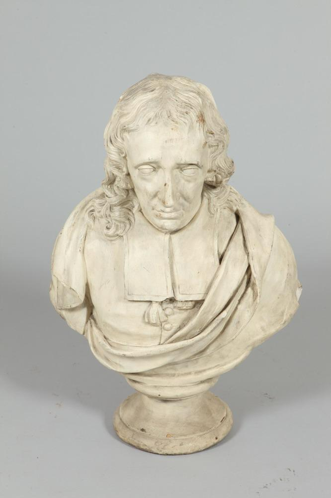 CONTINENTAL SCHOOL (19th/20th cenury). BUST OF JOHN MILTON, plaster sculpture in