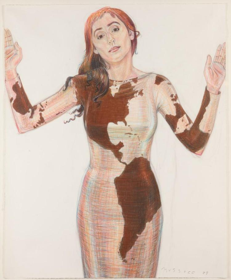 JODY MUSSOFF (American, b. 1952). PORTRAIT OF STANDING WOMAN, signed and dated '89 lower right. Color pencil.