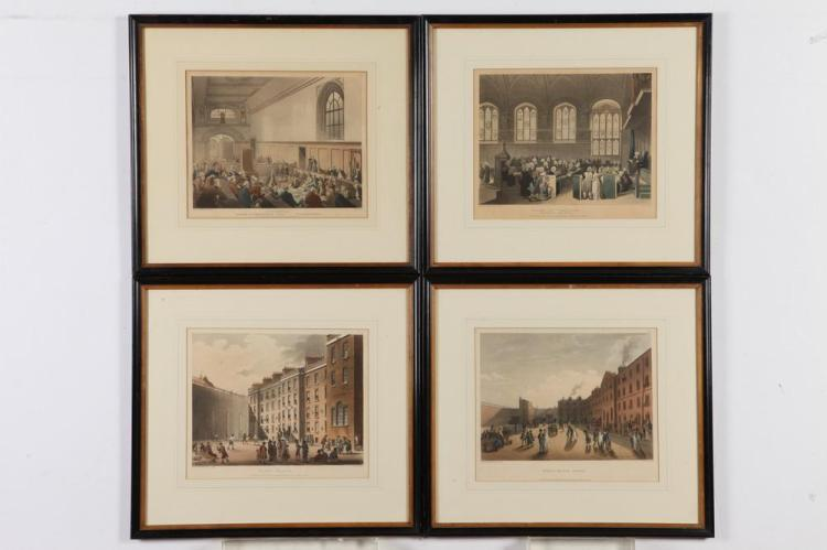 FOUR FRAMED ACKERMANS HANDCOLORED OF THE PERIOD AQUATINTS OF PRISON & COURT VIEWS, Published 1808, R. Ackerman, London. - 15 1/4
