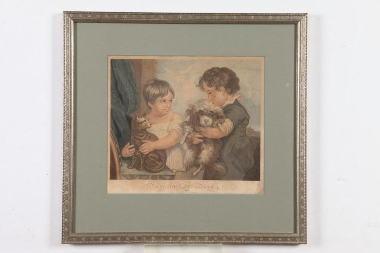 19TH CENTURY, SILVER LEAF FRAMED, OF THE PERIOD, FRENCH ENGRAVING OF CHILDREN WITH PETS. - Framed 18