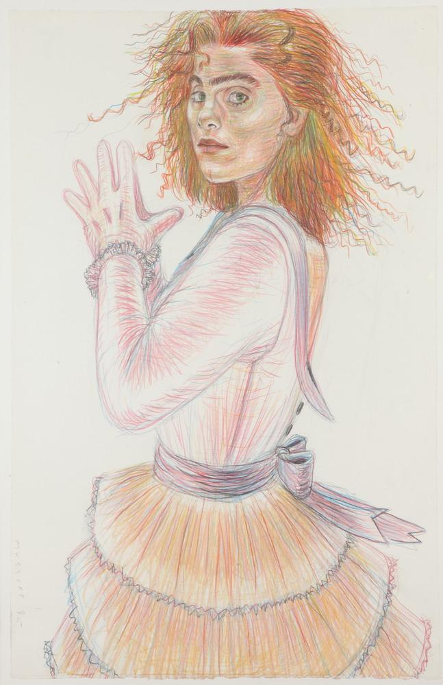JODY MUSSOFF (American, b. 1952). RED HEAD IN PARTY DRESS, signed and dated '85 lower left; titled verso. Colored pencil.