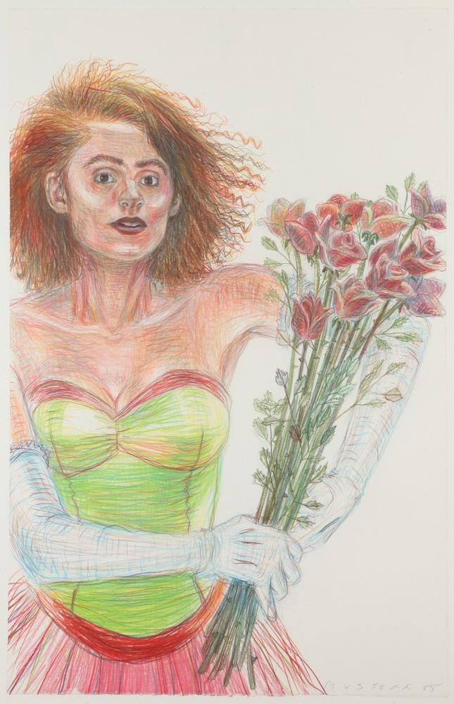 JODY MUSSOFF (American, b. 1952). WOMAN HOLDING ROSES, signed and dated '85 lower right; titled on verso. Colored pencil.