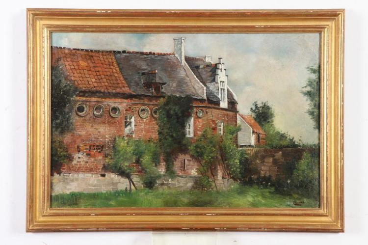 RENÉ CLAROT (Belgian, 1882-1972). THE OLD CHATEAU, signed lower right; also signed, dated 1907 and titled verso. Oil on canvas.
