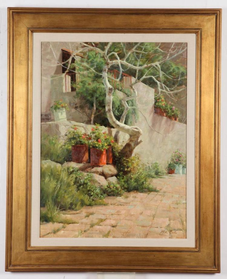 MITCH BILLIS (American, b. 1937). PATIO WITH POTTED GERANIUMS, signed lower right. Oil on canvas.