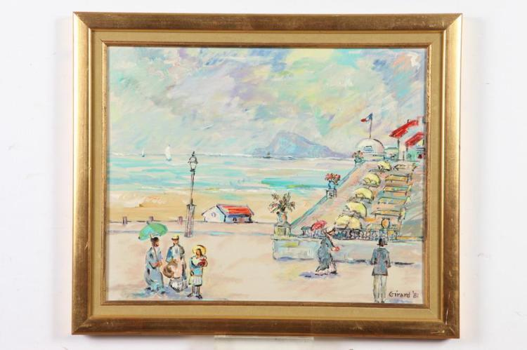 **** GIRARD (French 20th century). PROMENADE NICE, FRANCE, signed and dated '81 lower right; titled verso. Oil on canvas.