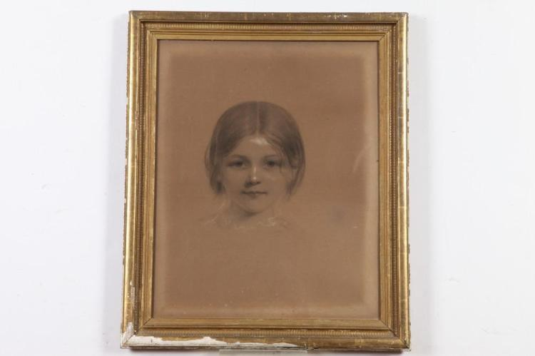 AMERICAN SCHOOL (20th century). PORTRAIT OF YOUNG GIRL, heightened charcoal.