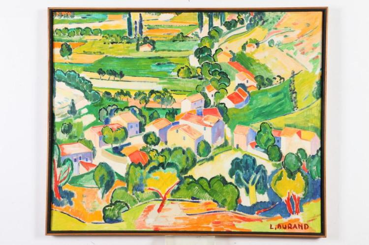 LUCIEN DURAND. (French, 20th century). LA COLLINE Á BOUGIVAL, signed lower right; titled verso.