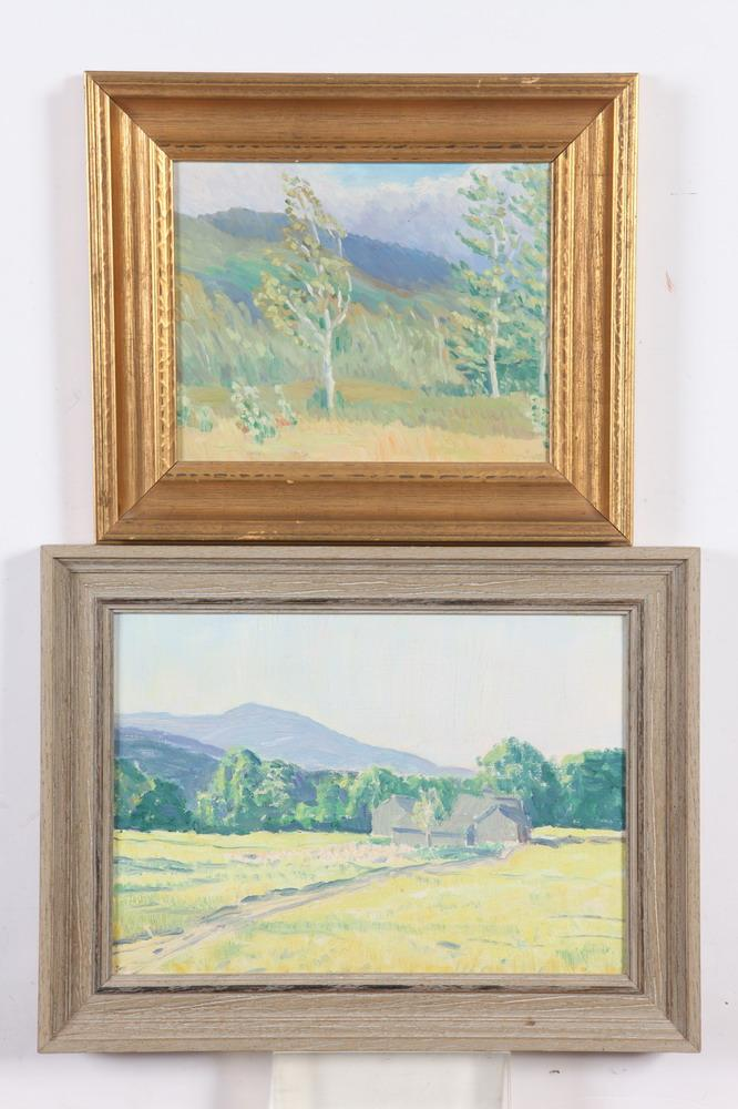 ARTHUR LEARNED (American, 1872-1959). SPRING LANDSCAPES: TWO WORKS, unsigned. Oil on board.