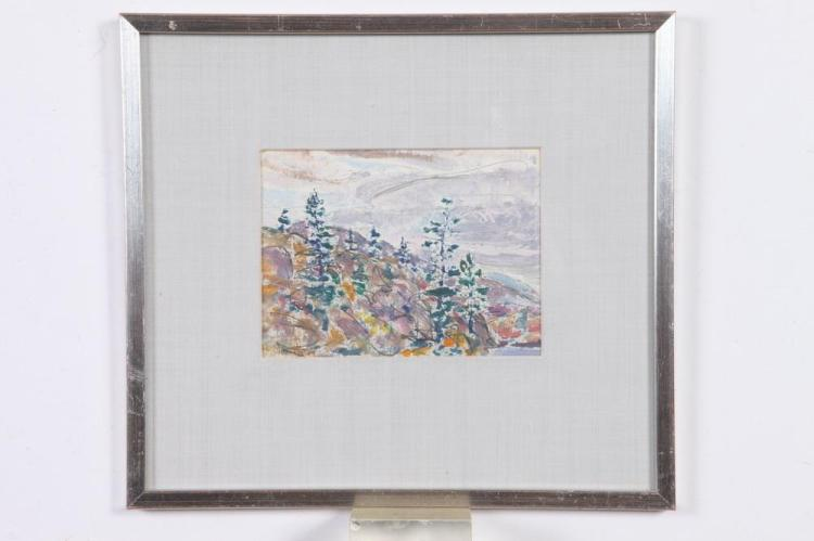 HAROLD WESTON (American, 1894-1972). PINE POINT UPPER AUSABLE LAKE, NEW YORK STATE, signed and dated '20 lower left. Oil on paper.