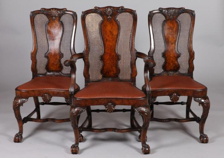 TWELVE 19TH/20TH CENTURY MAHOGANY ENGLISH MARKED GILL & REIGATE CENTURY DINING CHAIRS. 19th/20th Century.