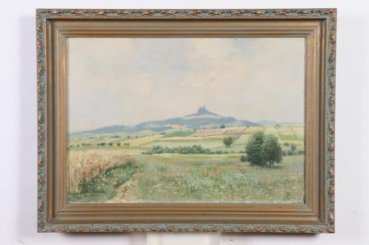 JINDRICH PROCHAZKA (Czech, b. 1888). SPRING LANDSCAPE, signed lower left. Oil on canvas.