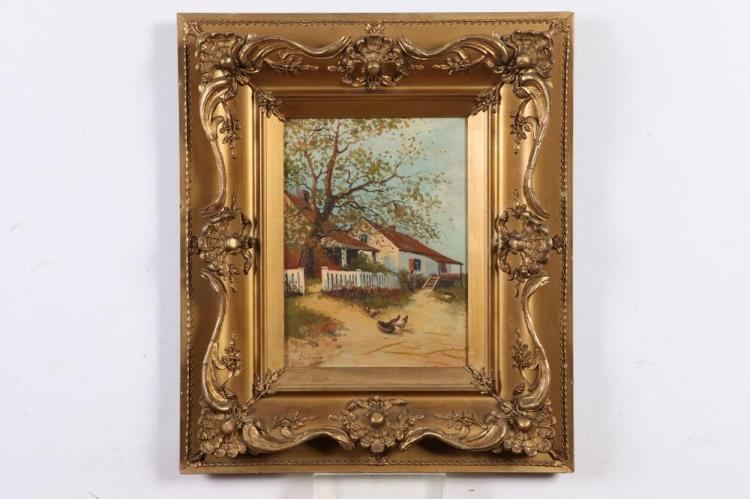 DUBROFF (20th century). CHICKENS FEEDING IN THE YARD, signed lower left. Oil on canvas.