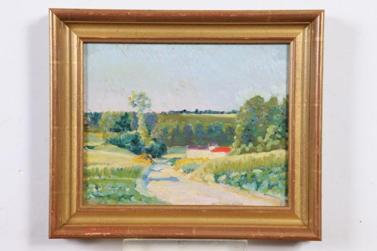 FRENCH SCHOOL (20th century). FRENCH COUNTRYSIDE, dated 1902 and illegibly inscribed lower right. Oil on board.