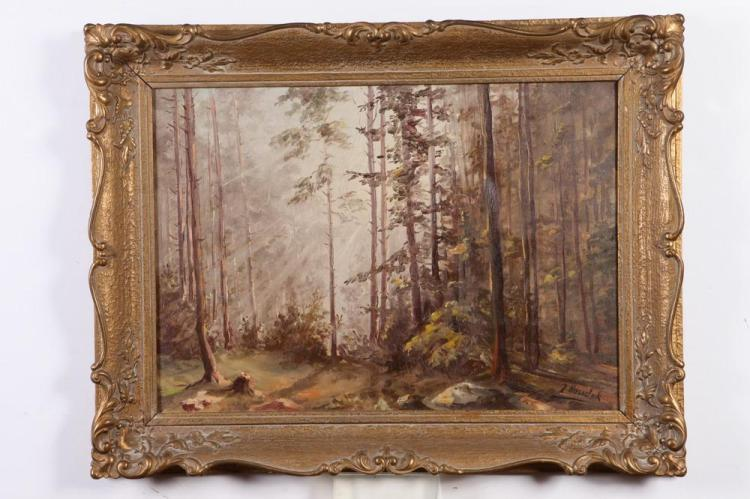 Z. HOUDEK (20th century). AUTUMN FOREST SCENE, signed lower right. Oil on canvas.