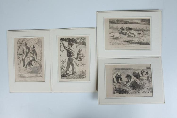FOUR SMALL WINSLOW HOMER WOOD ENGRAVINGS FROM OUR YOUNG FOLKS, Circa 1860's. - Each approx. 5 1/8