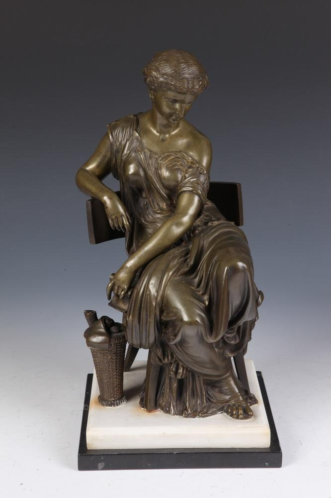 AFTER ADRIEN ETIENNE GAUDEZ (French 20th century). SEATED FIGURE OF GREEK WOMAN, signed. Bronze.