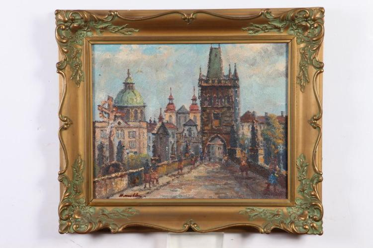RUSSIAN SCHOOL (20th century). STREET SCENE, signed illegibly lower left. Oil on canvas.