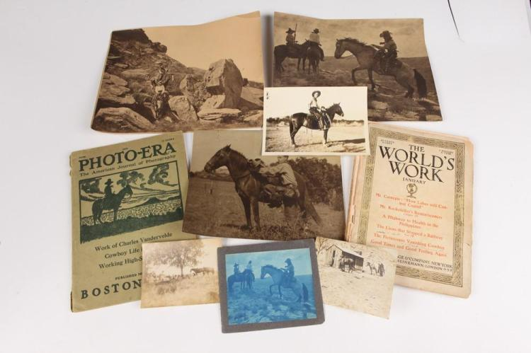 GROUP PHOTOGRAPHS OF COWBOY AND WESTERN SCENES FROM PERSONAL ALBUM OF ARTHUR COPRINGER, NEW YORK, early 20th century.