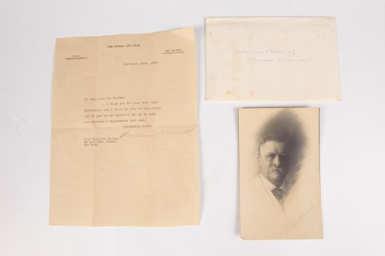 THEODORE ROOSEVELT AUTOGRAPH-SIGNED TYPED NOTE. - Note size: 11 in. x 8 1/2 in.