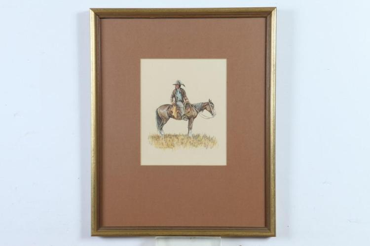OLAF WIEGHORST (Danish/American, 1899-1988). AMERICAN INDIAN ON HORSEBACK, signed and monogrammed lower left. Watercolor and ink on boa