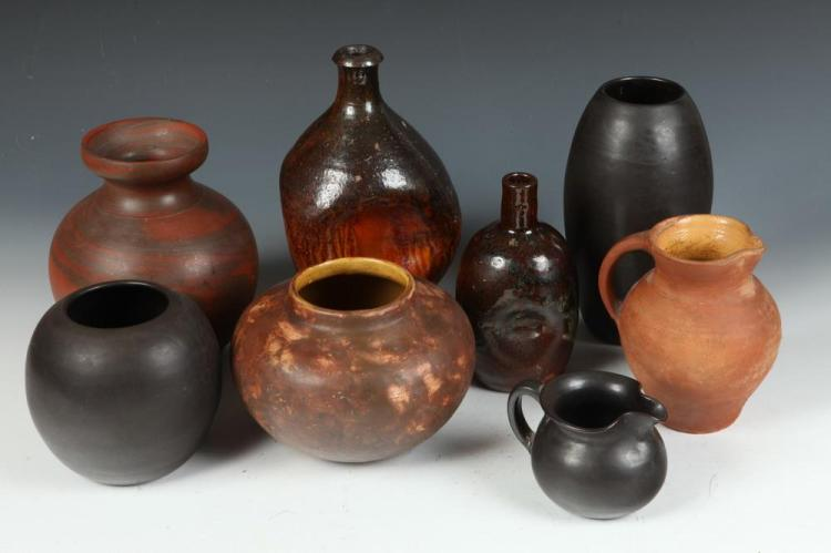 EIGHT 20TH CENTURY ART POTTERY VESSELS. 20th Century. All but one are marked.