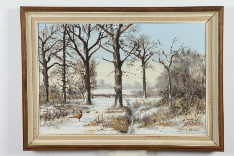 J.F. ADAM (American, 20th century). RING NECKED PHEASANT IN SNOWY LANDSCAPE, signed lower right. Oil on canvas.