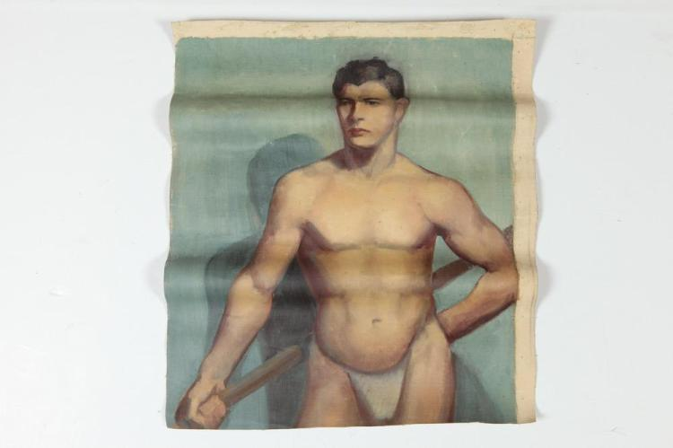 NOEL J. CORTES. (Filipino/American, 1907-1975). STANDING SEMI NUDE MALE FIGURE, (GAY INTEREST), oil on canvas.