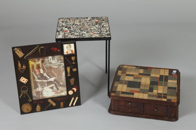 VINTAGE OAK GAME BOARD, A SMALL VINTAGE TILE TOP STAND & A DECORATIVE PICTURE FRAME. 20th Century.
