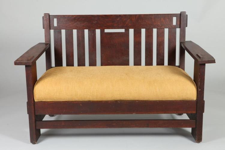 THREE PIECE STICKLEY-BRANDT MISSION OAK SALON SET CONSISTING OF A SETTEE, AN ARM CHAIR & A ROCKING CHAIR. 20th Century. All three piece