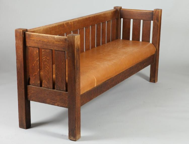 EARLY 20TH CENTURY MISSION OAK HALL SETTLE UPHOLSTERED IN BROWN LEATHER. Early 20th Century. Unmarked. - 34