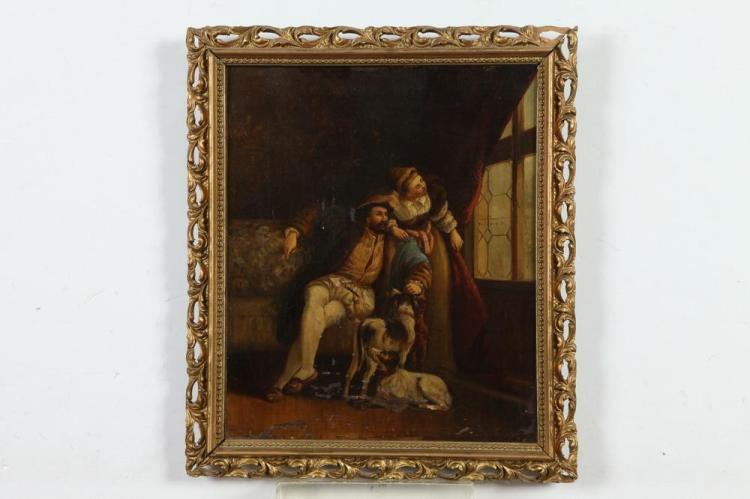 CONTINENTAL SCHOOL (19th century). A MAN IS A FOOL WHO TRUSTS IN A FICKLE WOMAN, titled verso. Oil on canvas.