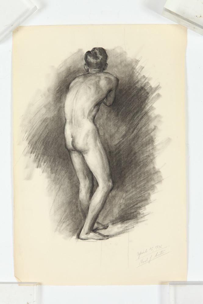 NOEL J. CORTES (Filipino/American, 1907-1975). MALE NUDE STUDIES: THREE WORKS, ( GAY INTEREST), each signed and dated lower right. Char
