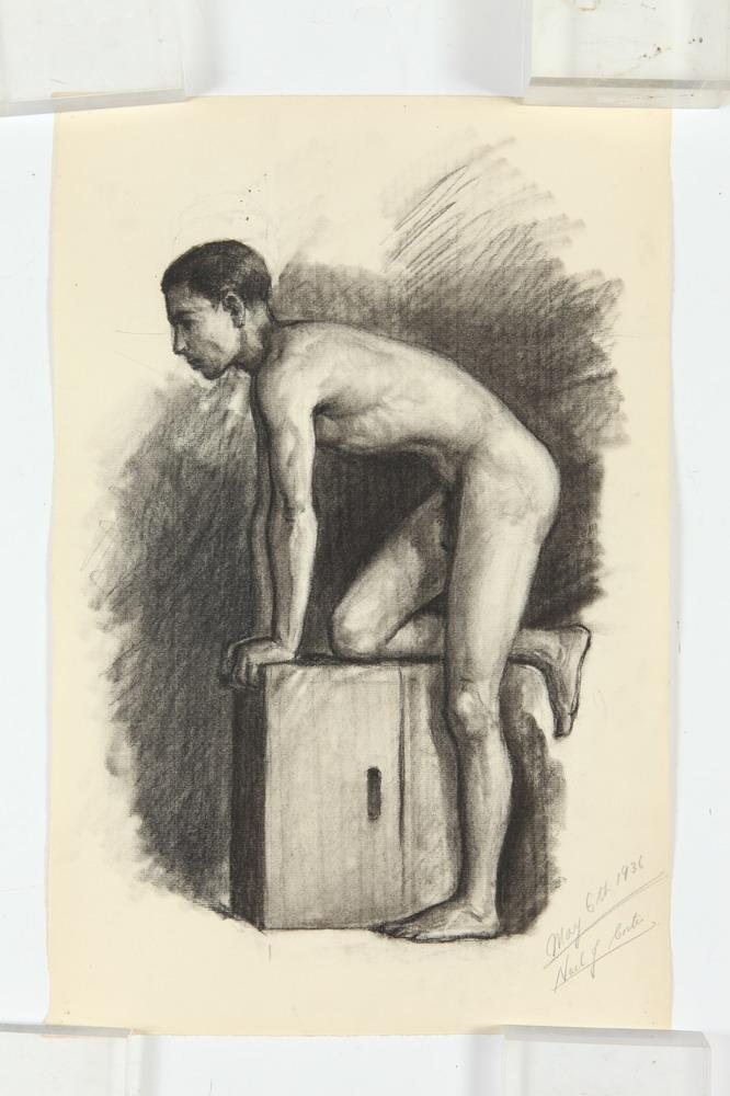 NOEL J. CORTES (Filipino/American, 1907-1975). MALE NUDE STUDIES: FOUR WORKS, three out of the four signed and dated 1936 lower right.