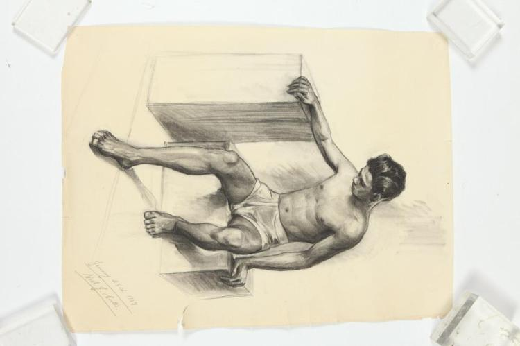 NOEL J. CORTES (Filipino/American, 1907-1975). MALE NUDE STUDIES: THREE WORKS, ( GAY INTEREST ), each signed and dated lower right. Cha